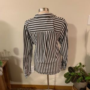 Who What Wear Tops - NWOT striped tie blouse